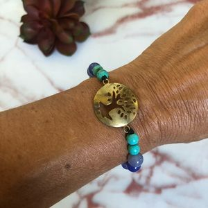 Jewelry - Bohemian Tree of Life Artisan Blue Beaded Bracelet